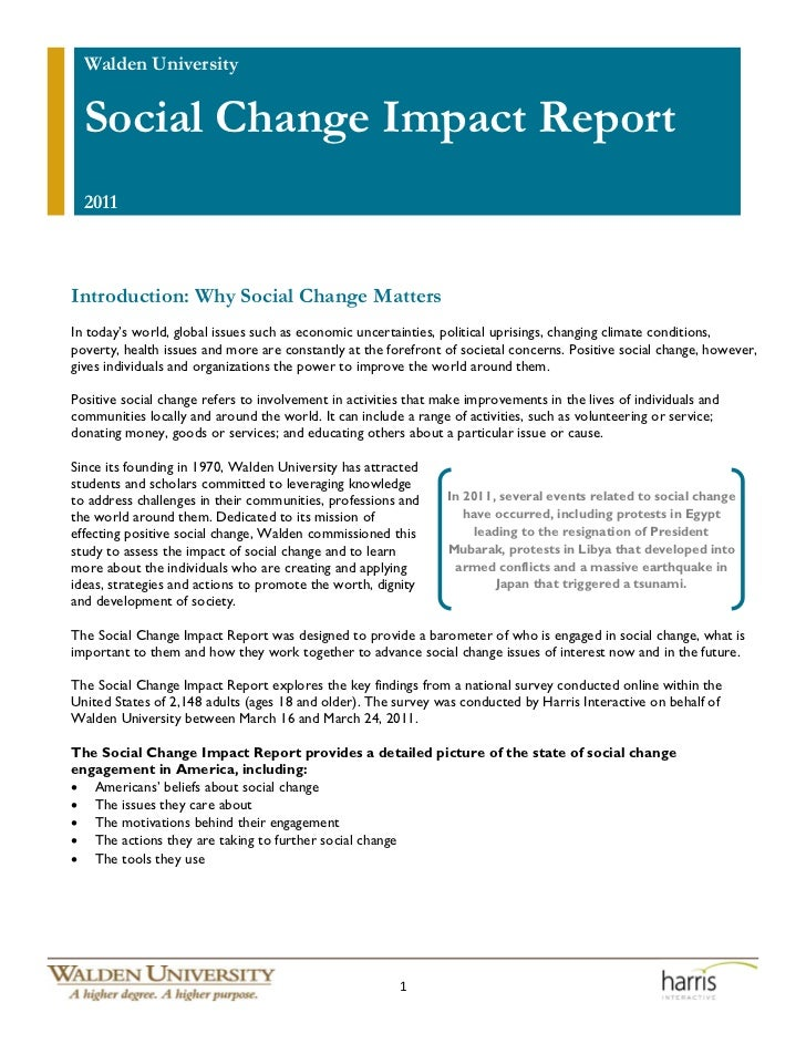 Walden University  Social Change Impact Report  2011Introduction: Why Social Change MattersIn today's world, global issues...