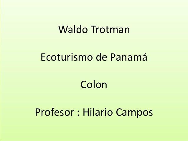 Waldo Trotman Ecoturismo de Panamá Colon Profesor : Hilario Campos