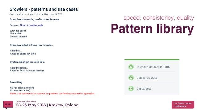 Wojciech Aleksander Pattern library speed, consistency, qualityOperation successful, confirmation for users Scheme: Noun +...