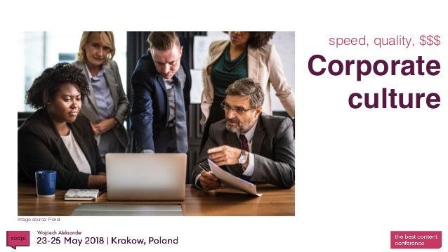 Wojciech Aleksander Corporate culture speed, quality, $$$ Image source: Pexel