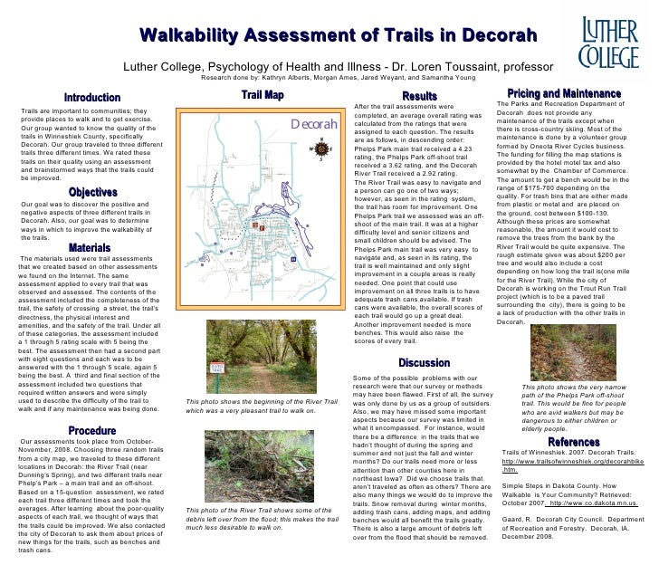Walkability Assessment of Trails in Decorah Luther College, Psychology of Health and Illness - Dr. Loren Toussaint, profes...