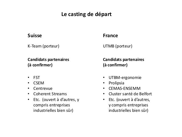 Le casting de départ Suisse France K-Team (porteur) UTMB (porteur) • FST • CSEM • Centrevue • Coherent Streams • Etc. (ouv...