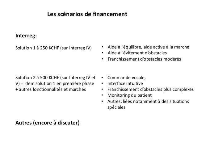 Les scénarios de financement Interreg: Solution 1 à 250 KCHF (sur Interreg IV) Solution 2 à 500 KCHF (sur Interreg IV et V...