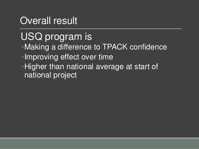 Overall result USQ program is ◦Making a difference to TPACK confidence ◦Improving effect over time ◦Higher than national a...