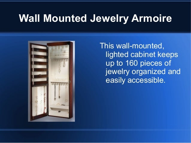 Wall Mounted Jewelry Armoire With Mirror; 2. Wall ...
