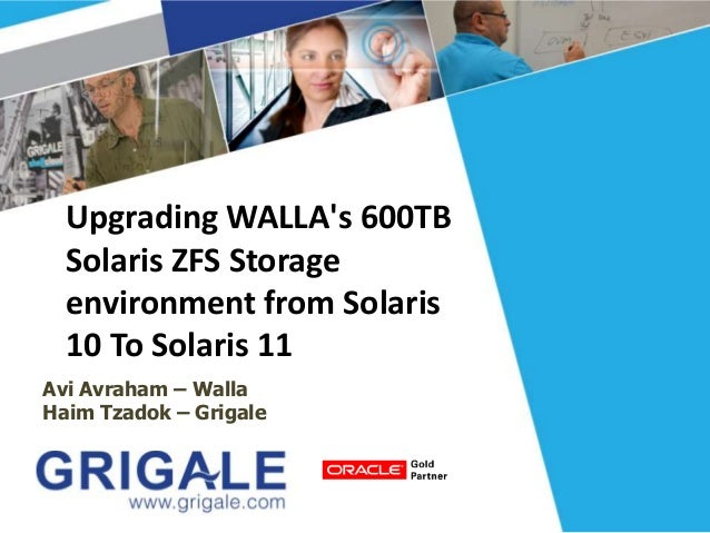 Upgrading WALLA's 600TB Solaris ZFS Storage environment from Solaris 10 To Solaris 11 Avi Avraham – Walla Haim Tzadok – Gr...
