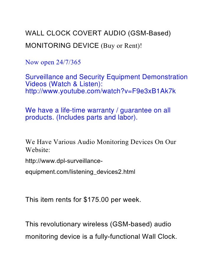 WALL CLOCK COVERT AUDIO (GSM-Based)MONITORING DEVICE (Buy or Rent)!Now open 24/7/365Surveillance and Security Equipment De...