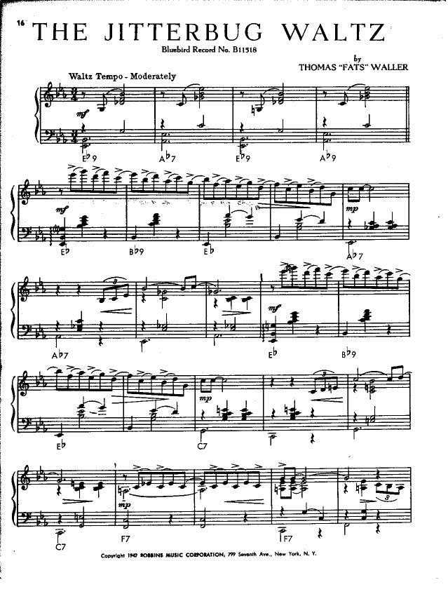 TECHNIQUES et MUSIQUES, IMPROVISATION pour GUITARE. 5 doigts main droite (6, 7 & 8 strings) Waller-fats-the-jitterbug-waltz-1-638