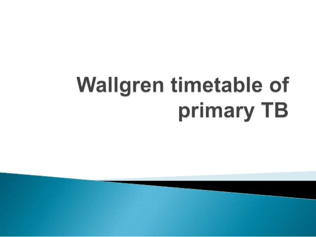    Manifestation of TB in children can be predicted based    on the Walgreen Timetable highlighted below:   Pulmonary tu...