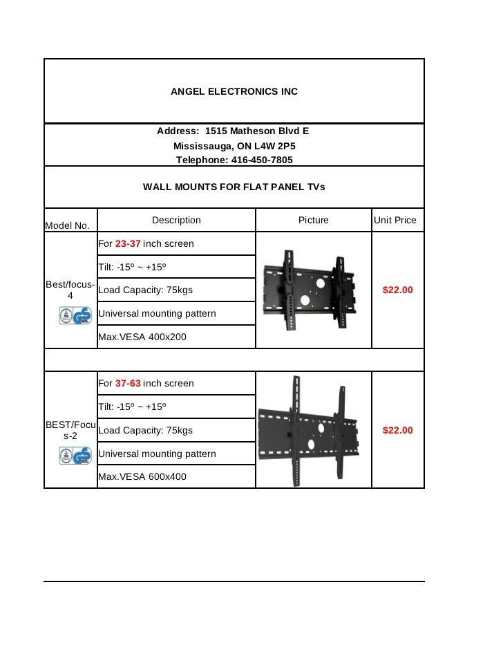 ANGEL ELECTRONICS INC                          Address: 1515 Matheson Blvd E                            Mississauga, ON L4...