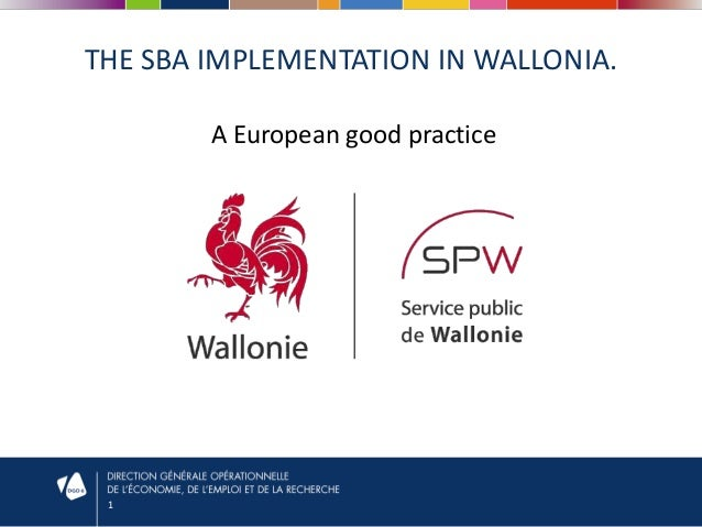 THE SBA IMPLEMENTATION IN WALLONIA. A European good practice  1