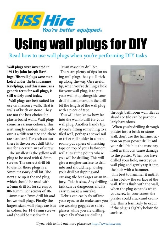 Using wall plugs for DIY Wall plugs were invented in 1911 by John Joseph Rawl- ings. His wall plugs were mar- keted under ...