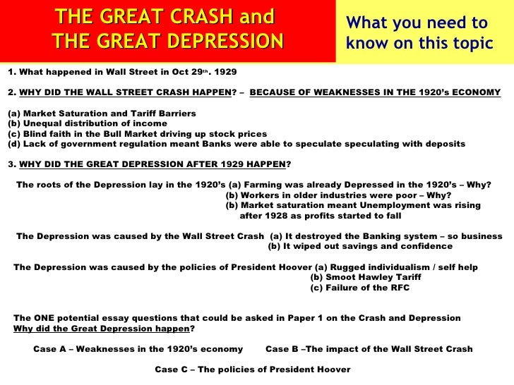 1. What happened in Wall Street in Oct 29 th . 1929 2.  WHY DID THE WALL STREET CRASH HAPPEN ? –  BECAUSE OF WEAKNESSES IN...