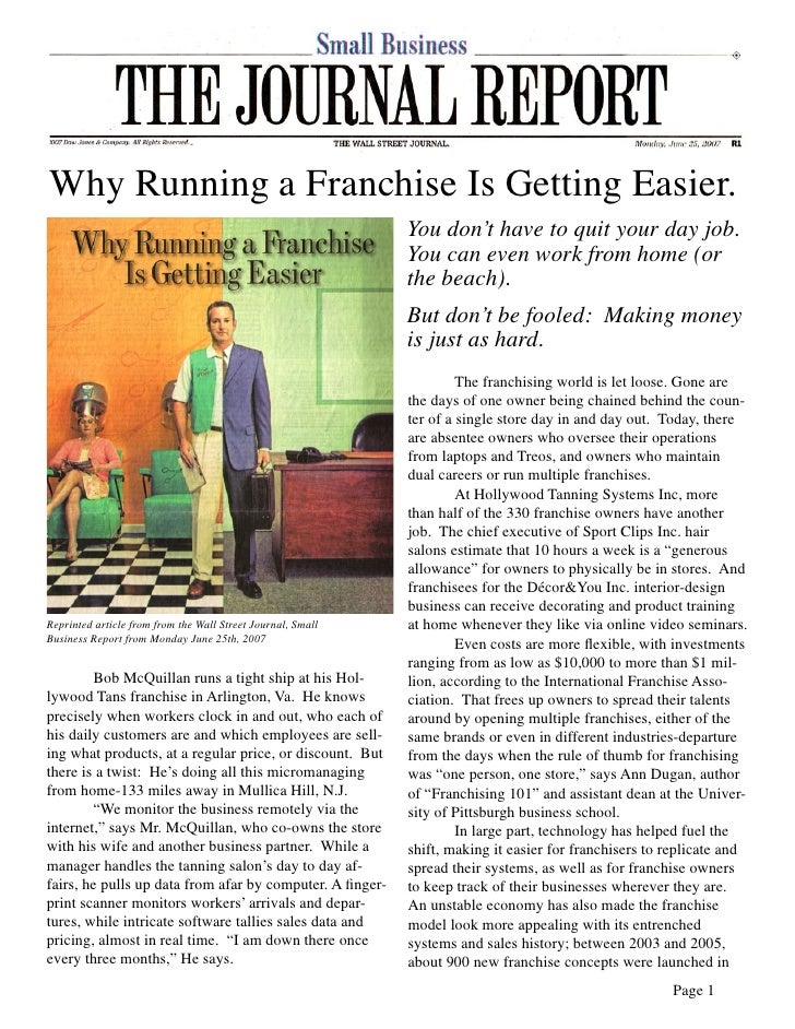 Why Running a Franchise Is Getting Easier.                                                              You don't have to ...