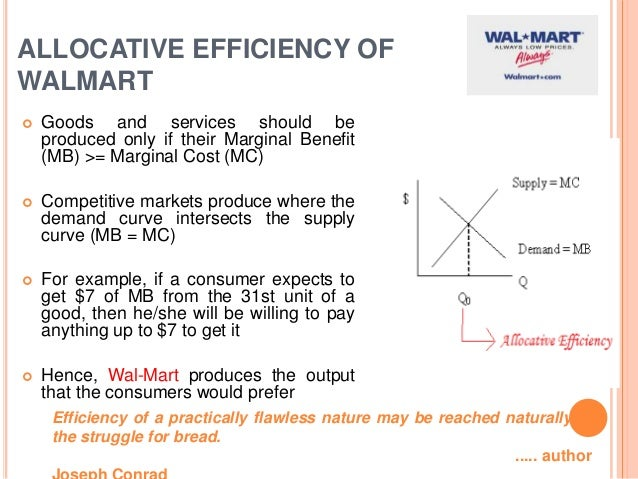 wal mart an example of operating efficiency For decades, walmart has set the benchmark for operational efficiency in the   solar panel installation projects, for example, take place on a roof over 10 to 20.