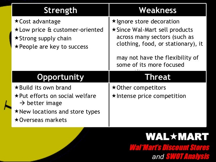 a swot analysis of the walmart company Bus100 o19b spr15nl search this site about walmart globalization how economics affect walmart  below is an over view of walmart's swot analysis:  enter new markets and form and cooperate with other business in europe or the greater china region.