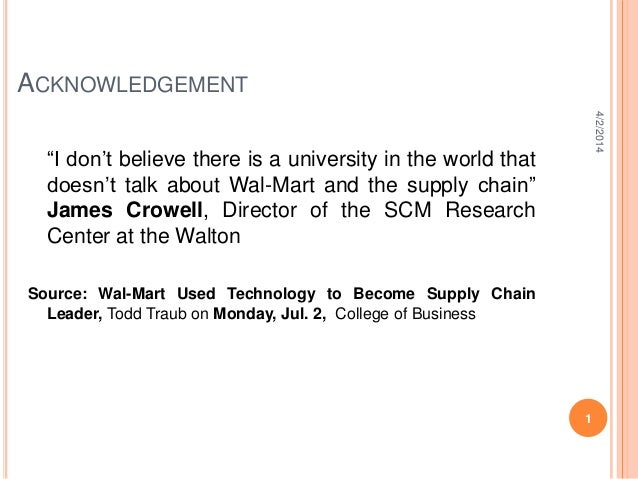 Half a century of supply chain management at wall mart
