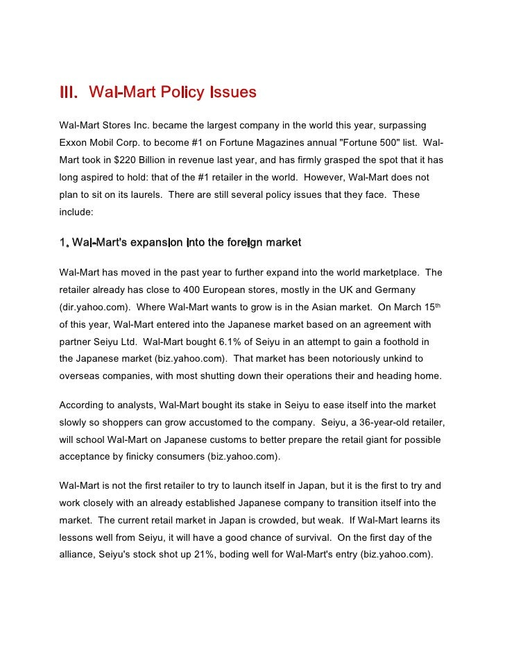 wal mart critique essay Walmart case study essay - wal-mart, now it is branded as walmart is the world largest public multinational corporation by revenue in 2010.
