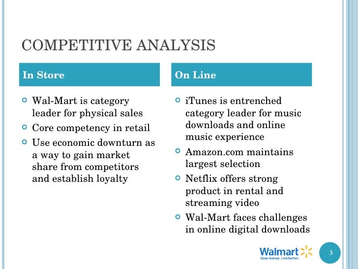 walmarts core competition Wal-mart's competitive environment is quite unique although wal-mart's primary competition comes from general merchandise retailers, warehouse clubs and supermarket retailers also present competitive pressure the discount retail industry is substantial in size and is constantly experiencing.