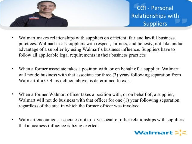 walmart statement of ethics Code or contract: whether wal-mart's code of conduct creates a contractual obligation between  value policy statements to comprehensive guidelines, the uniform policy behind them is to show the [multi-  mncs use corporate codes of conduct to set out ethical standards in their conduct for the most part, mncs that adopt codes of.