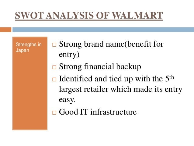 swot analysis for walmart Swot analysis for walmart fay stewart mgt/521 february 1, 2012 audrey ellison a swot analysis looks at the strengths and weaknesses of a company and the opportunities and threats.