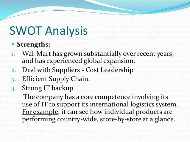 swot analysis of wal mart in china Wal-mart is the giant in retail industry wal-mart swot analysis wal-mart facing difficulties in outside usa such as countries like china wal-mart gives very.