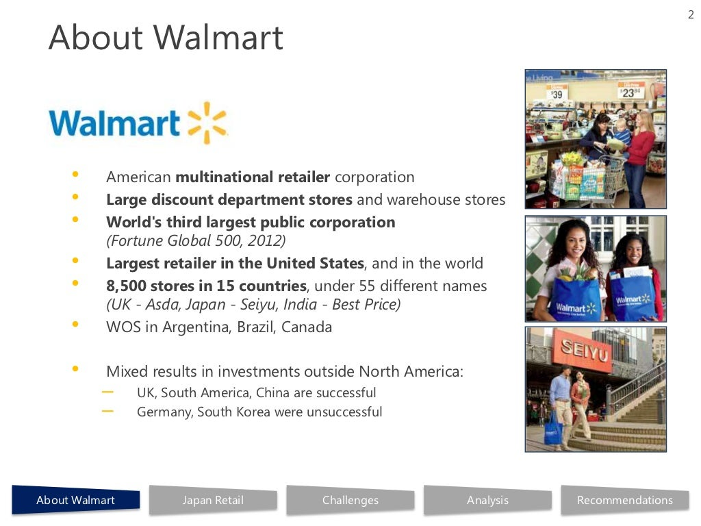 walmarts business analysis and recommendations Swot analysis of wal mart strengths when you begin to look a swot analysis, you should look at what they do right and what their strengths are the strength of wal mart is that they have developed a loyal customer and employee base.