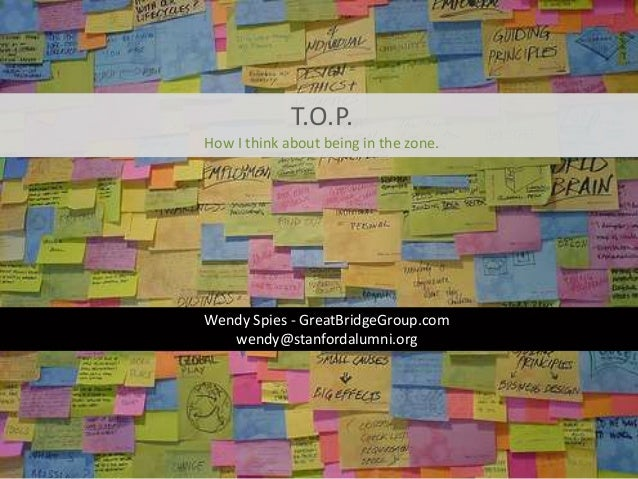 T.O.P.How I think about being in the zone.Wendy Spies - GreatBridgeGroup.com   wendy@stanfordalumni.org