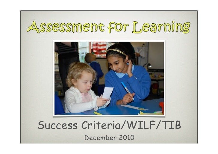 Success Criteria/WILF/TIB        December 2010