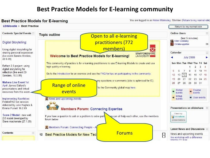 Best Practice Models for E-learning community Open to all e-learning practitioners (772 members) Range of online events Fo...