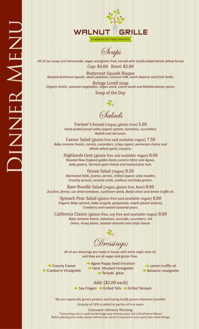 Walnut grille dinner menu