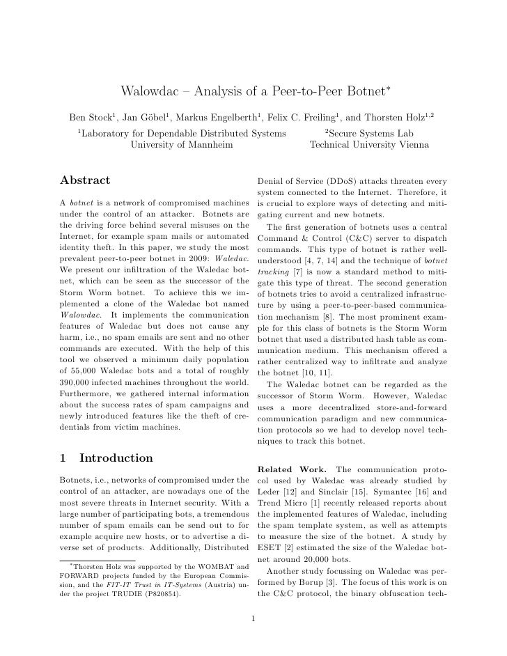Walowdac – Analysis of a Peer-to-Peer Botnet∗     Ben Stock1 , Jan G¨bel1 , Markus Engelberth1 , Felix C. Freiling1 , and ...