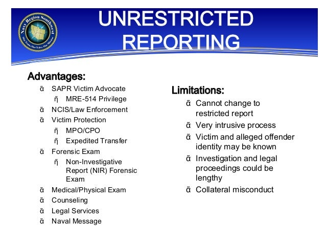 Sexual unrestricted reporting options