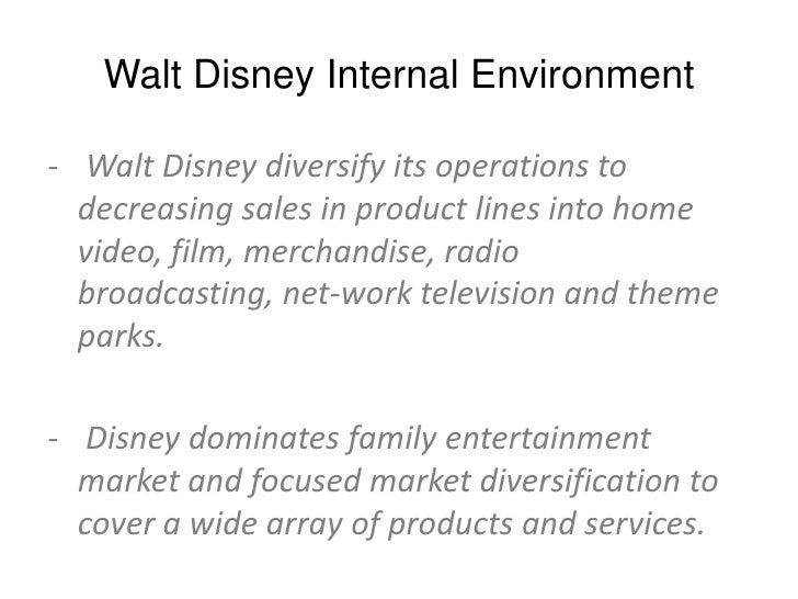 """the walt disney company internal external stakeholders Walt disney mission statement 2013 """"the walt disney company's objective is to be one of the world's leading producers and providers of entertainment and information, using its portfolio of brands to differentiate its content, services and consumer products."""