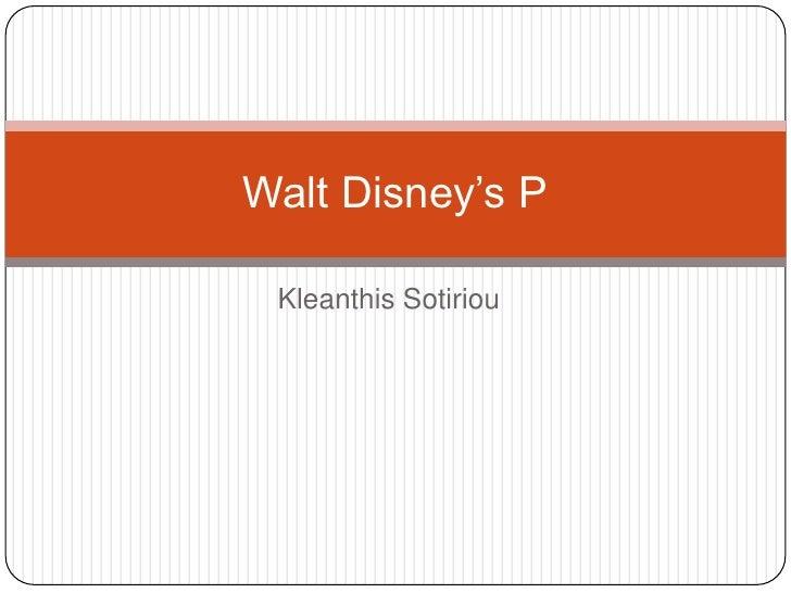 Walt Disney's P Kleanthis Sotiriou