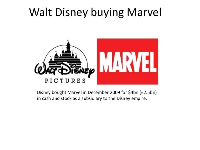 Walt Disney buying Marvel  Disney bought Marvel in December 2009 for $4bn (£2.5bn) in cash and stock as a subsidiary to th...