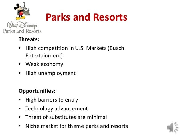 strategic marketing analysis of walt disneys parks and report The walt disney company creates corporate value by harnessing fit across the value chains of its multiple business units compete in theme parks and resorts, video entertainment, and consumer product divisions leveraging the disney name and wholesome family entertainment positioning.