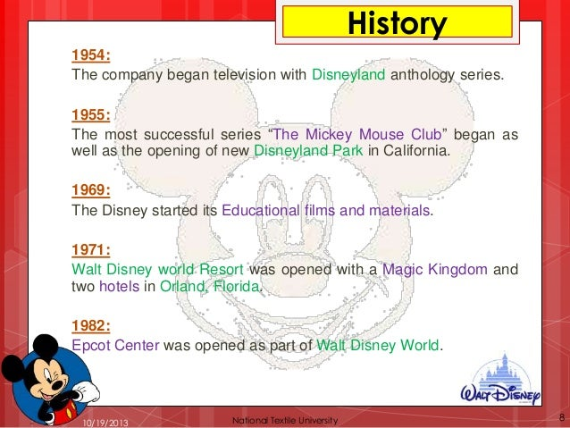 Location Disney Resorts:  1. California 2. Florida 3. Tokyo 4. Hong Kong 5. Paris  10/19/2013  National Textile University...