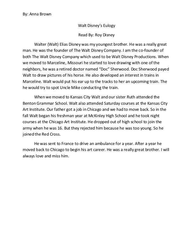 Walt disney eulogy for Eulogy template for brother