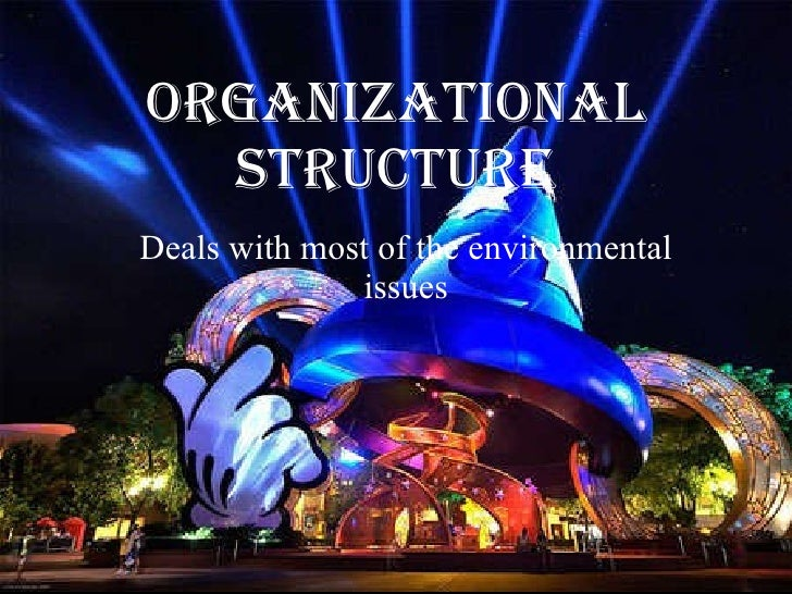 ORGANIZATIONAL STRUCTURE Deals with most of the environmental issues
