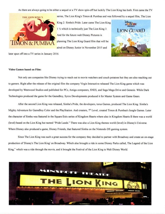 the lion king analysis of development It has been approved to complement edmund pevensie/personality by an administrator  early on he likes it when the witch calls him clever, and he loves the idea of being king edmund also likes to seem smart, making high-and-mighty,  he makes many sarcastic and perhaps embittered remarks during the lion, the witch,.