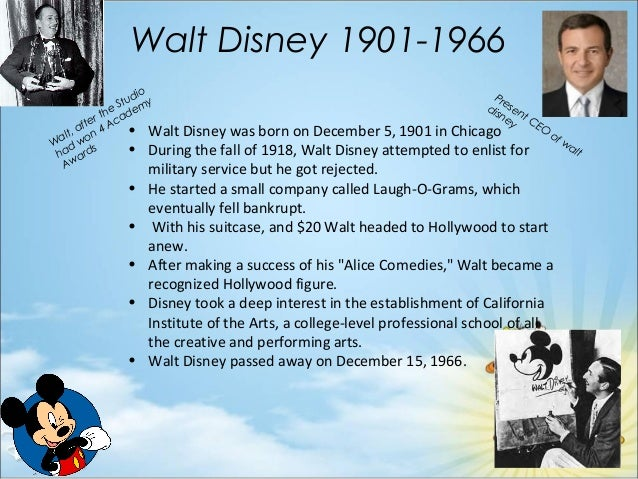 walt disney ppt Shares of the walt disney company (dis - free disney stock report) have risen roughly 27% year to date (they hit an all-time high in may of nearly $68), easily outpacing the double-digit moves registered by the broader dow jones industrial average and standard & poor's 500 index.