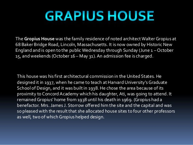 essays on walter gropius The bauhaus was founded in 1919 in the city of weimar by german architect  walter gropius (1883–1969) its core objective was a radical concept: to  reimagine.