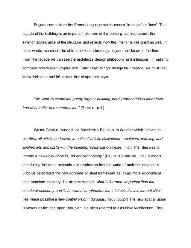 Walter Gropius and Frank Lloyd Wright (Faade) By Ken Wong Chun Thim; 2.