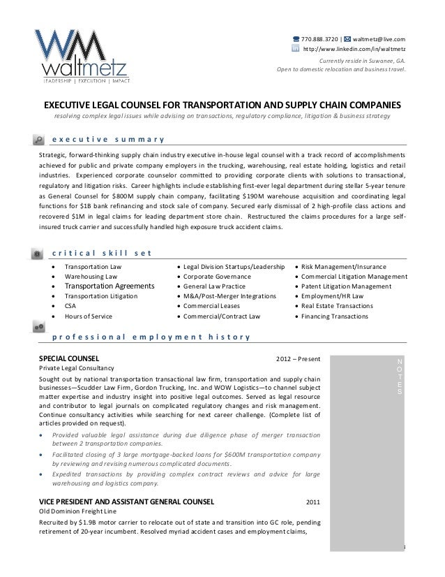 walt metz transportation resume transactional attorney sample resume - Contract Attorney Resume Sample