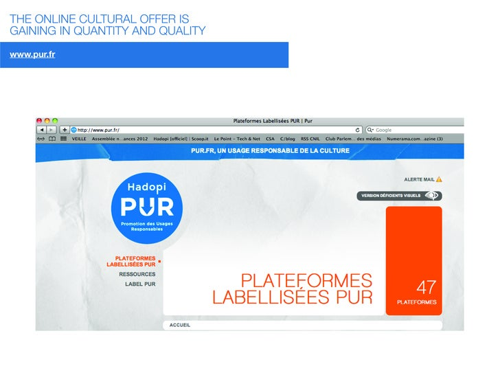 THE ONLINE CULTURAL OFFER ISGAINING IN QUANTITY AND QUALITYwww.pur.fr