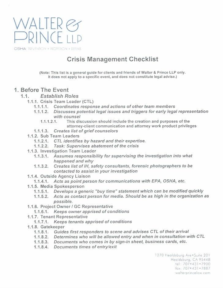 Crisis Management Checklist