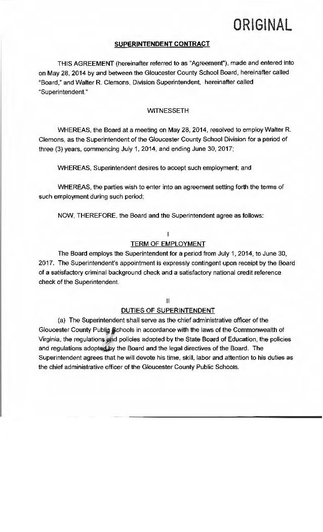 "ORIGINAL SUPERINTENDENT CONTRACT THIS AGREEMENT (hereinafter referred to as ""Agreement""), made and entered into on May 28,..."