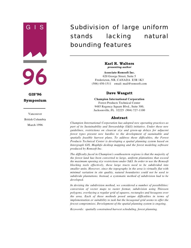 G I S             Subdivision of large uniform                    stands    lacking    natural                    bounding...
