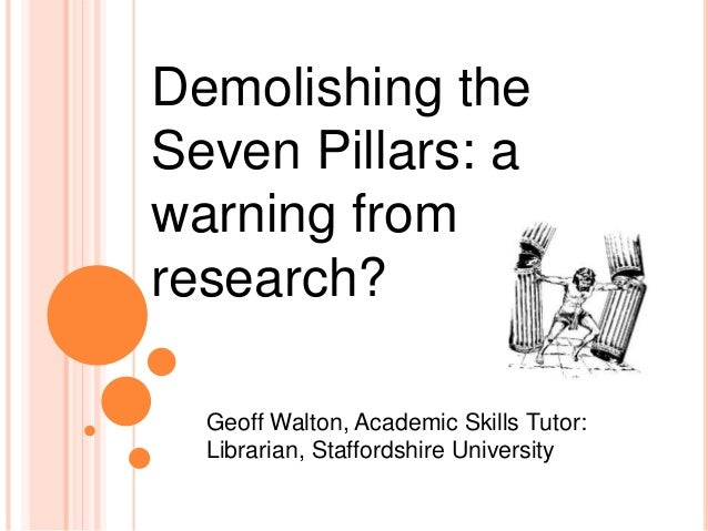 Geoff Walton, Academic Skills Tutor: Librarian, Staffordshire University Demolishing the Seven Pillars: a warning from res...